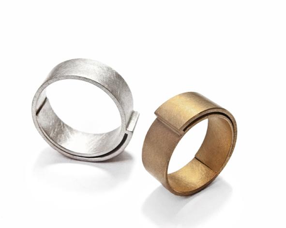 Gewickelte Trauringe aus Gold und Silber
