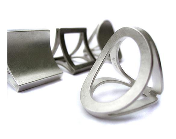 Moderne Schmuckringe Dreier-Ringe Silber Platin Gold